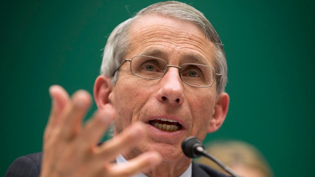 FILE - In this Oct. 16, 2014 file photo, Dr. Anthony Fauci, director of The National Institute of Allergy and Infectious Diseases, testifies before the The House Energy and Commerce Committee's subcommittee on Oversight and Investigations on Capitol Hill in Washington. The gulf between politicians and scientists over Ebola widened on Sunday, Oct. 26, 2014 as Fauci warned that the mandatory, 21-day quarantining of medical workers returning from West Africa is unnecessary and could discourage volunteers from traveling to the danger zone. (AP Photo/Pablo Martinez Monsivais, File)