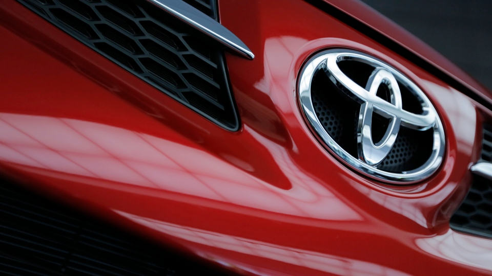 A Toyota Motor Corp.'s model is on display at the automaker's head office in Tokyo on May 8, 2013. (Itsuo Inouye/AP)