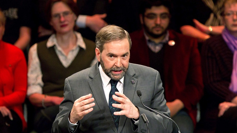NDP leadership candidate Thomas Mulcair speaks during an all candidates debate in Vancouver, B.C., on Sunday, March 11, 2012. (Darryl Dyck / THE CANADIAN PRESS)