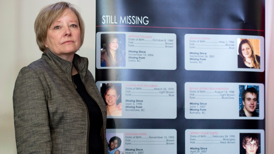 Judy Peterson, who's daughter Lindsey Jill Nicholls went missing in 1993, takes part in a government news conference to announces a DNA-based national missing persons index in Ottawa, Monday, Oct. 27, 2014. (Adrian Wyld / THE CANADIAN PRESS)