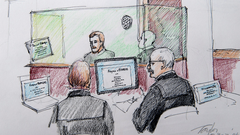 An artist's sketch shows the sentencing hearing for Justin Bourque at Moncton Law Courts in Moncton, N.B. on Monday, Oct.  27, 2014. (Carol Taylor / THE CANADIAN PRESS)