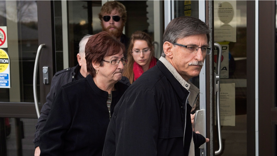 Victor Bourque heads from Moncton Law Courts during a break at the sentencing hearing for his son, Justin Bourque, in Moncton, N.B. on Monday, Oct. 27, 2014. (Andrew Vaughan  / THE CANADIAN PRESS)