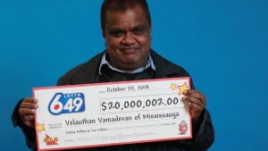Velauthan Vamadevan is $20 million richer after winning the Lotto 6/49 jackpot in a mid-October draw. (Lotto 6/49)