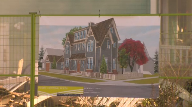 Prairie Drawing Room's rendering of Jocelyn Rempel's new home is posted to the construction fence surrounding her demolished home