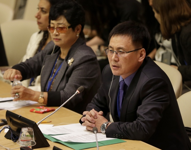 North Korean defector Jung Kwang Il speaks during a panel discussion on North Korean human rights abuses at United Nations headquarters, Oct. 22, 2014. (AP / Seth Wenig)