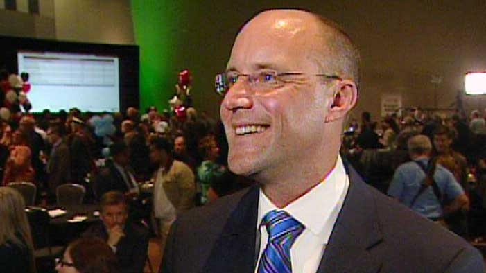 Mayor-elect Matt Brown speaks after being declared the winner of the race in London, Ont. on Monday, Oct. 27, 2014.