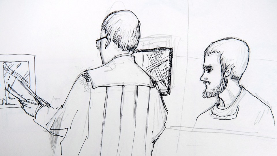 An artist's sketch shows the sentencing hearing for Justin Bourque at Moncton Law Courts in Moncton, N.B. on October 27, 2014. (THE CANADIAN PRESS / Carol Taylor)