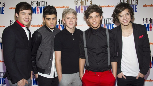 "One Direction band members, left to right, Liam Payne, Zayn Malik, Niall Horan, Louis Tomlinson and Harry Styles attend the premiere of the Nickelodeon TV movie ""Big Time Movie"" in New York, Thursday, March 8, 2012."