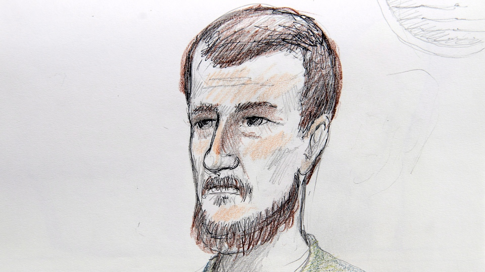 Justin Bourque is depicted in an artist's sketch at his sentencing hearing at Moncton Law Courts in Moncton, N.B. on Tuesday, October 28, 2014. (Carol Taylor / THE CANADIAN PRESS)