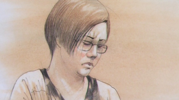 This court sketch shows Terri-Lynne McClintic as she testifies at the Michael Rafferty trial in London, Ont., Tuesday, March 13, 2012.