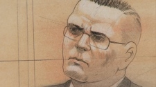 This court sketch shows Michael Rafferty as he listens to testimony at his trial in London, Ont., Tuesday, March 13, 2012.
