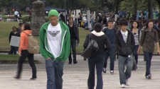 Students stroll through UBC's Vancouver campus on March 13, 2012. (CTV)