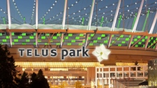 A sign proposal for the exterior of BC Place stadium is seen in this rendering provided by Telus.