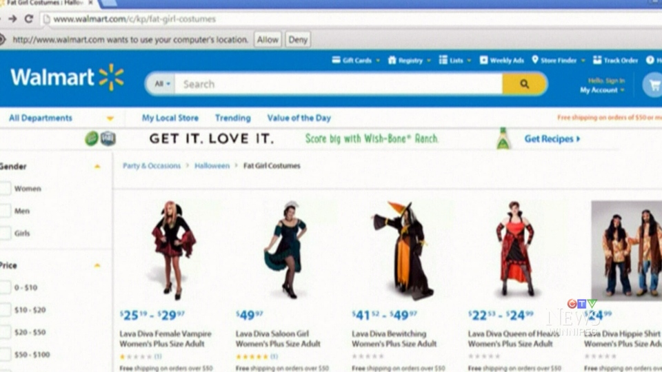 Wal-Mart apologizes for listing plus-size Halloween costumes on its website as 'Fat Girl Costumes.'