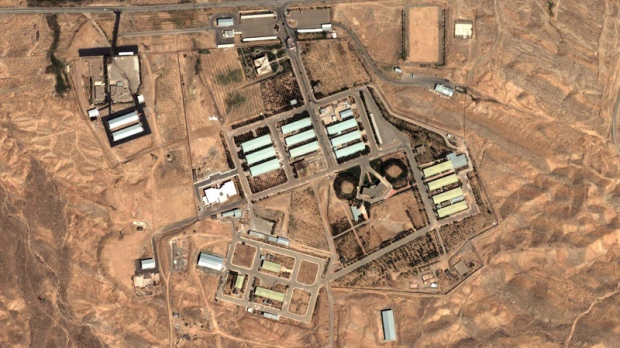 This Aug. 13, 2004 file satellite image provided by DigitalGlobe and the Institute for Science and International Security shows the military complex at Parchin, Iran, 30 km southeast of Tehran. (AP Photo/DigitalGlobe - Institute for Science and International Security, File)