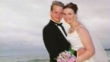 Curtis and Allyson McConnell are seen on their wedding day in this undated image.