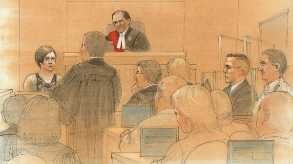 This court sketch shows Terri-Lynne McClintic as she testifies at the Michael Rafferty trial in London, Ont. on Tuesday, March 13, 2012.