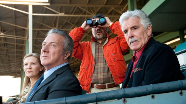 In this undated image released by HBO, from left, Joan Allen, Dustin Hoffman, John Ortiz and Dennis Farina are shown in a scene from 'Luck.' (AP / HBO, Gusmano Cesaretti)