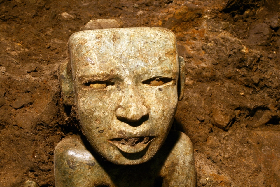 This Aug. 6, 2014 photo released by Mexico's National Institute of Anthropology and History (INAH) shows a sculpture unearthed at the Teotihuacan archeological site in Mexico. (AP / Proyecto Tlalocan / INAH)