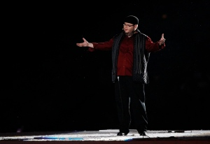 Poet Shane Koyczan performs at the opening ceremonies for the 2010 Vancouver Olympic Winter Games in Vancouver on Friday, February 12, 2010 . (THE CANADIAN PRESS/Ryan Remiorz)