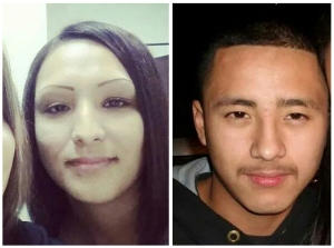 This two photo combo with undated handout photos provided by Nohemi Gonzalez, shows Erica Maria Alvarado Rivera, left, and her brother Alex, right, at their mother's home in Progreso, Texas. According to witnesses armed men took Erica Maria, 26, and her brothers, Alex, 22, and Jose Angel, 21, on Oct. 13 in El Control, a small town near the Texas border west of Matamoros. (AP Photo)