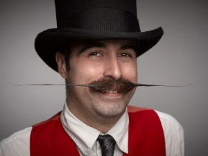 Colin Geitzler, a.k.a. Snidely Mansfield, competes with an English-style moustache at the World Beard and Moustache Championships in Oregon on Oct. 25, 2014. (Colin Geitzler)