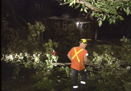 Hydro crews spent hours trying to restore service to thousands of customers after Sunday night's storm.