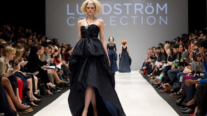 A model show a creation by the designer Lundstrom at Toronto Fashion Week on Tuesday March 13, 2012. (Chris Young / THE CANADIAN PRESS)