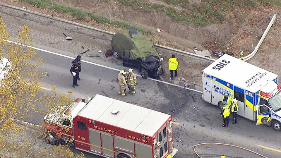 A woman is dead after an SUV drifted into oncoming traffic and collided with a transport truck on a highway located northwest of Toronto on Thursday, Oct. 30, 2014.