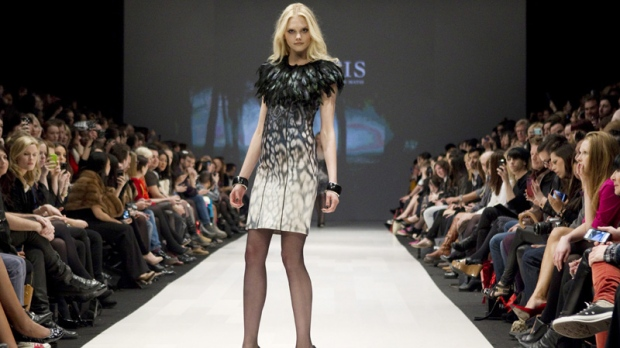 54cc6002dfefa A model at the Matis by Lucian Matis show at Toronto Fashion Week on  Tuesday March