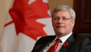 Canadian Prime Minister Stephen Harper in his office in Ottawa, on Oct. 31, 2014. (THE CANADIAN PRESS / Adrian Wyld)