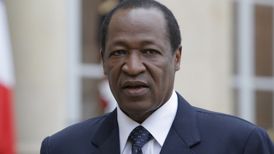Burkina Faso President Blaise Compaore speaks to the media after a meeting with France's President Francois Hollande at the Elysee Palace in Paris, Tuesday, Sept, 18, 2012. (AP / Francois Mori)