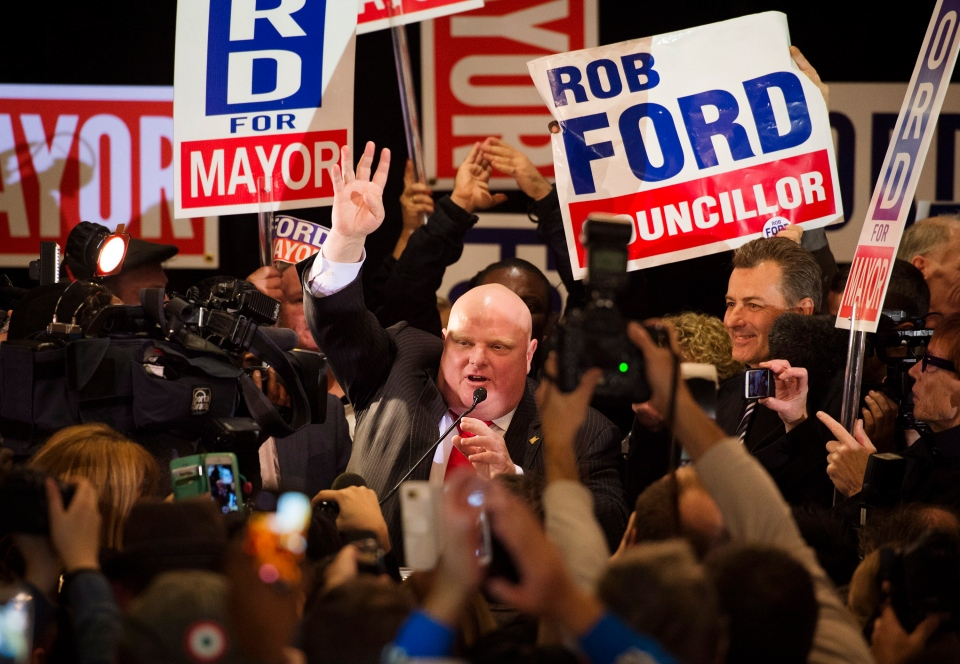 Rob Ford speaks to supporters after winning his seat on city council at mayoral candidate Doug Ford's election night headquarters in Toronto on Monday, October 27, 2014. (Darren Calabrese/THE CANADIAN PRESS)