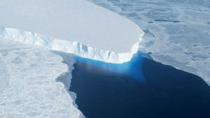 This undated handout photo provided by NASA shows the Thwaites Glacier in West Antarctic.  (AP Photo / NASA)