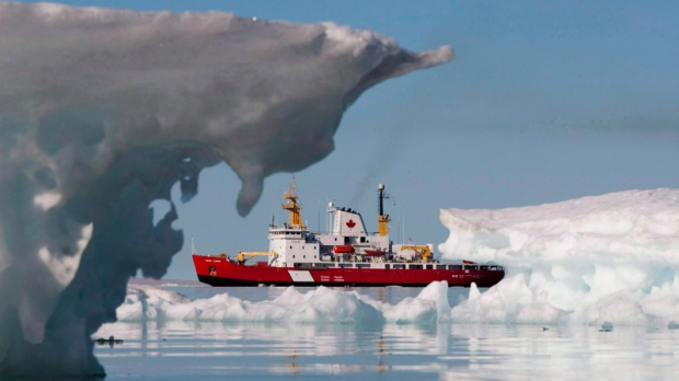 The Canadian Coast guard's medium icebreaker Henry Larsen is seen in Allen Bay during Operation Nanook, in Nunavut on Aug. 25, 2010. Liberal Senator Colin Kenny says the Conservative's Arctic ship plan should be sunk and replaced real icebreakers. (Sean Kilpatrick / THE CANADIAN PRESS)