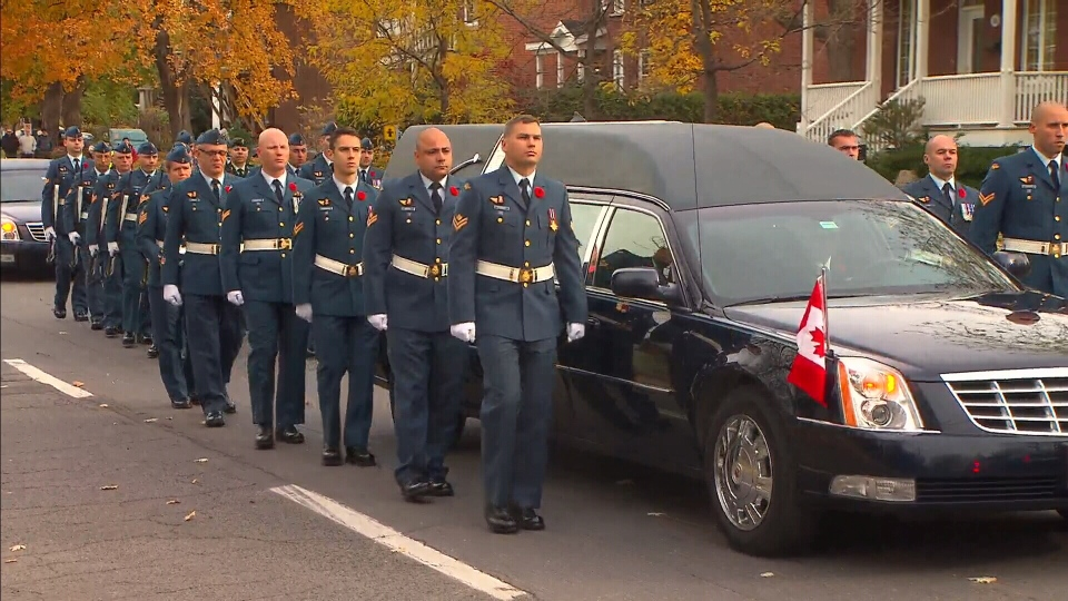 Funeral procession for Warrant Officer Patrice Vincent in Longueil, Quebec on Saturday, Nov. 1, 2014.