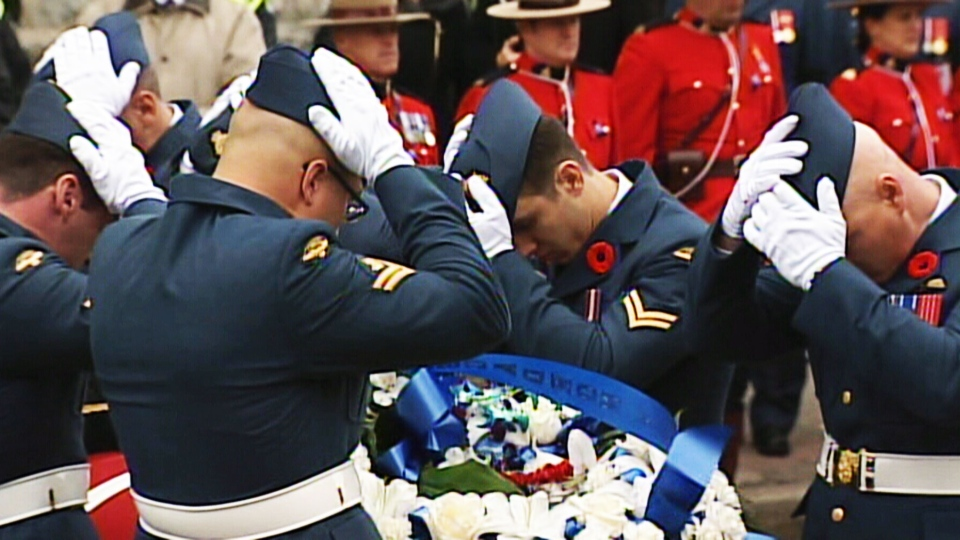 A final salute for Warrant Officer Patrice Vincent in Longueuil, Quebec on Saturday, Nov. 1, 2014