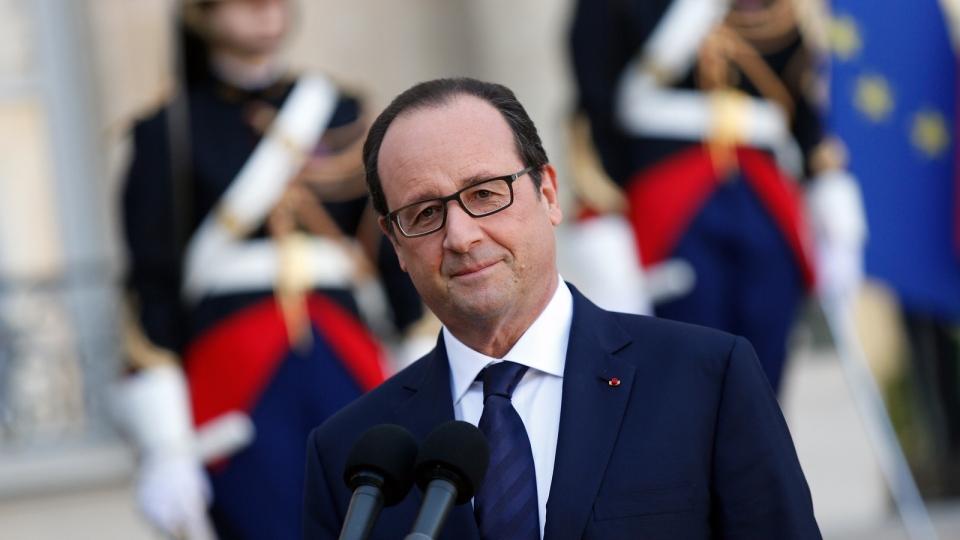 France's President Francois Hollande addresses the media after a meeting with his Haitian counterpart Michel Martelly, at the Elysee Palace, in Paris, Friday 31, 2014. (AP / Thibault Camus)
