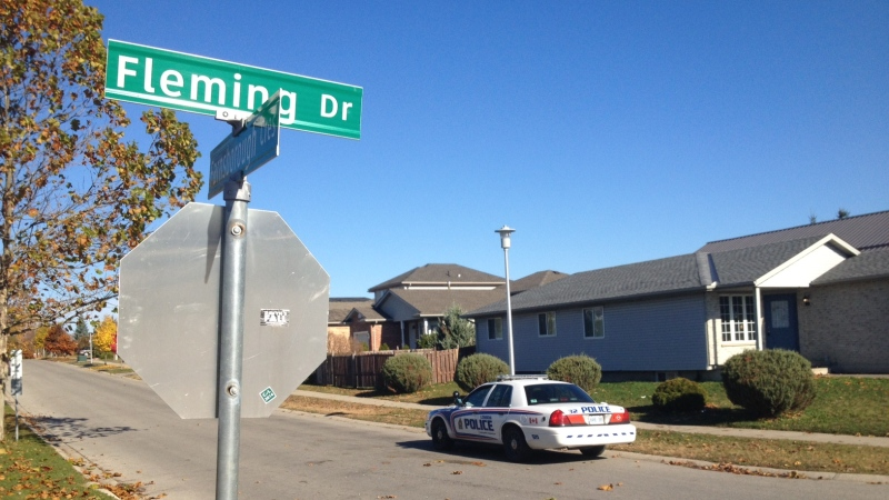 A London police officer was allegedly assault on Fleming Drive in London, Ont. on Sunday, Nov. 2, 2014. (Sean Irvine / CTV London)