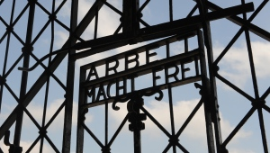 In this April 24, 2009 file photo, the entrance gate of the former Nazi concentration camp in Dachau, near Munich, southern Germany, is pictured with the slogan reading 'Work sets you free.' (AP / Christof Stache)