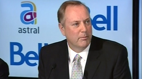 George Cope, president and CEO of BCE, speaks during a press conference following the announcement of a deal with Astral Media, in Montreal, Friday, March 16, 2012.