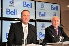 BCE President and CEO George Cope, left, and Astral Media President and CEO Ian Greenberg speak during a press conference ni Montreal on Friday, March 16, 2012. (Paul Chiasson / THE CANADIAN PRESS)