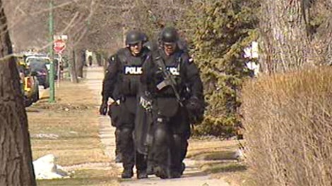Members of multiple police units took part in the raids around Winnipeg on March 16, 2012.