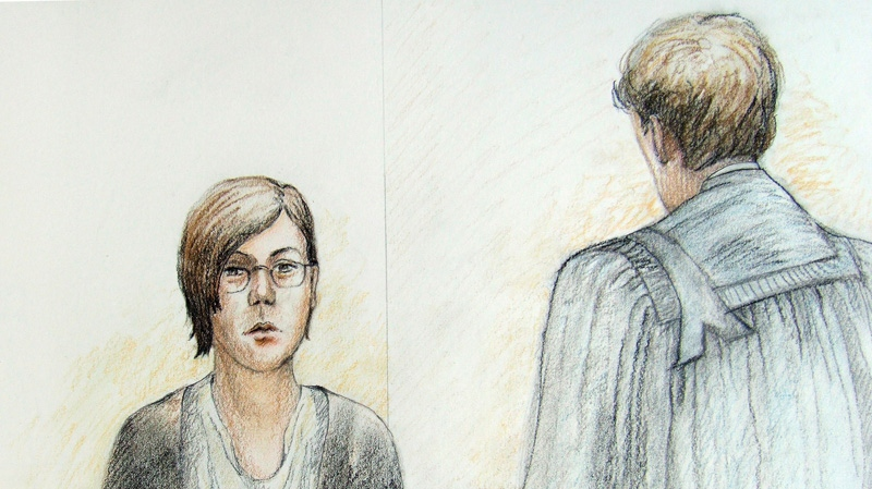 Terri-Lynne McClintic testifies at the Michael Rafferty murder trial in London, Ont., Tuesday, March 13, 2012. (Tammy Hoy / THE CANADIAN PRESS)