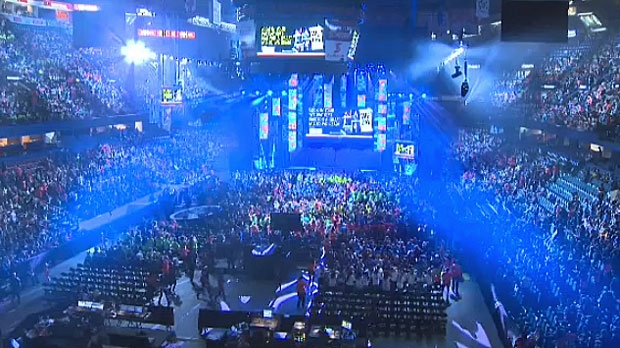 Calgary students and teachers pack into the Saddledome on Monday, Nov 3, 2014 for We Day.