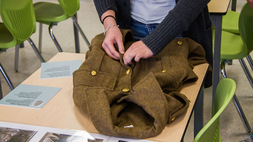 A replica Canadian military jacket from the First World War.