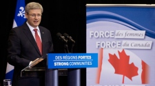 Prime Minister Stephen Harper speaks in Montreal, Friday, March 16, 2012. (Graham Hughes / The Canadian Press)