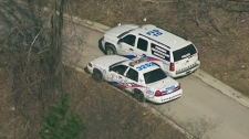 Toronto police block off the ramp, where they believe Mariam Makhniashvili jumped or fell from, on Friday, March 16, 2012.