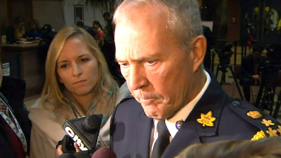 Toronto Police Chief Bill Blair speaks to reporters in Toronto, Nov. 4, 2014.