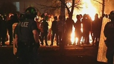 Partygoers ignited fires at a St. Patrick's Day festivities in London, Ont. on early Sunday, March 18, 2012.